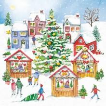 Servilleta decorada Mercadillo de navidad