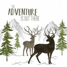 Servilleta decorada de navidad Renos en el monte