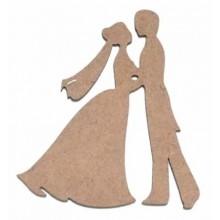 Silueta madera para scrap novios bailando