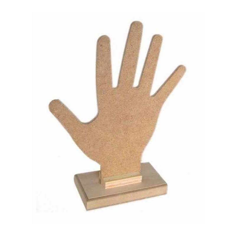 Mano de madera para colgar anillos