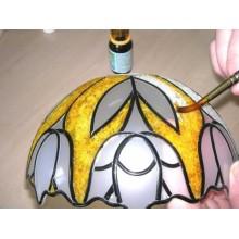 lampara con plomo vidrieras