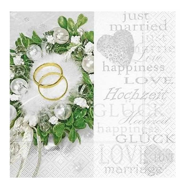 Servilleta decorada recién casados 33 cm