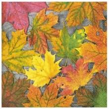 Servilleta decorada hojas de otoño 33 cm