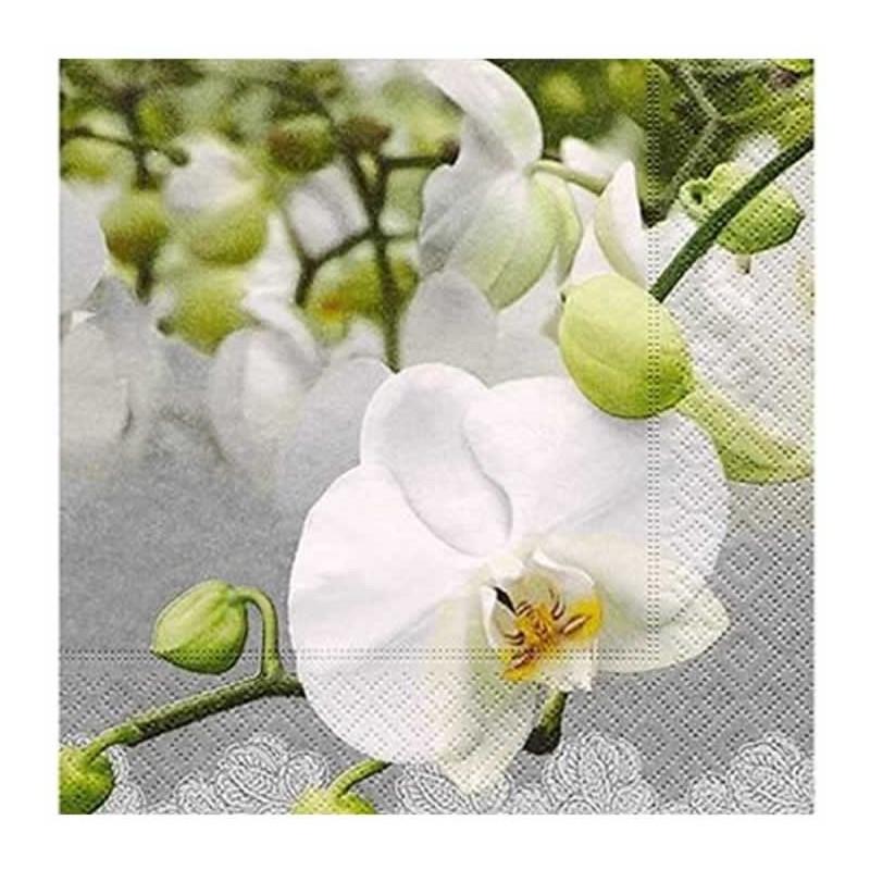 Servilleta decorada orquídeas blancas 33 cm
