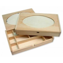 Caja Madera con ovalo de cristal con divisiones
