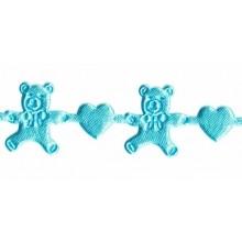 Detalle Cinta bebé azul osito corazón 1 metro