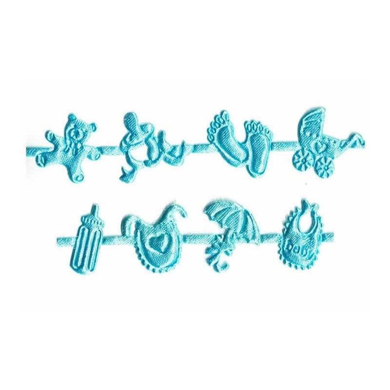 detalle Cinta bordada azul de bebé motivos 1 metro