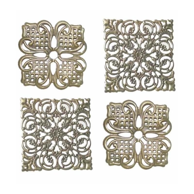 Rosetón de metal filigrana color bronce