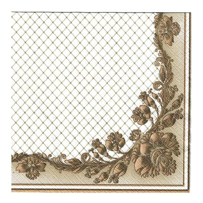 detalle Servilleta decoupage marco de flores beige