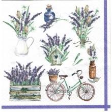 Servilleta decoupage con flores lavanda