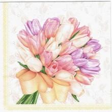 Servilleta decoupage ramo de tulipanes