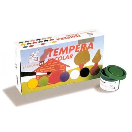 Caja 7 colores tempera escolar