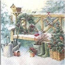 Servilleta decoupage jardín de navidad