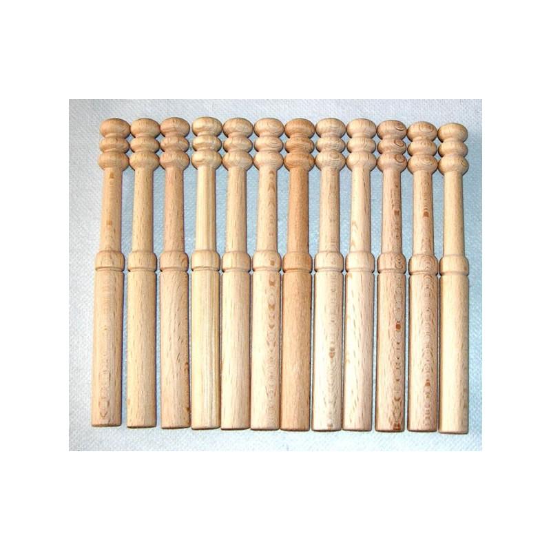 12 Bolillos Nº 12 lisos madera bog