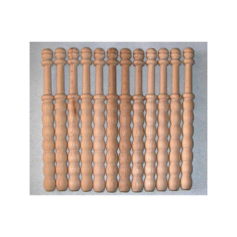 12 Bolillos ondulado, madera bog