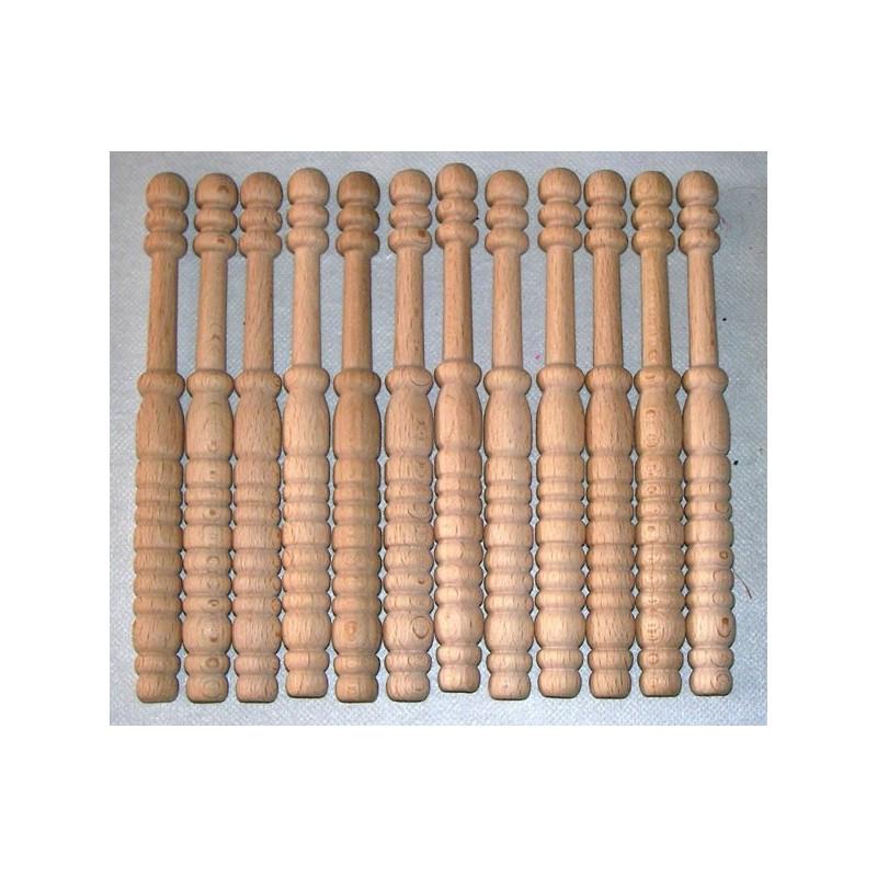 12 Bolillos ondulado G, madera bog