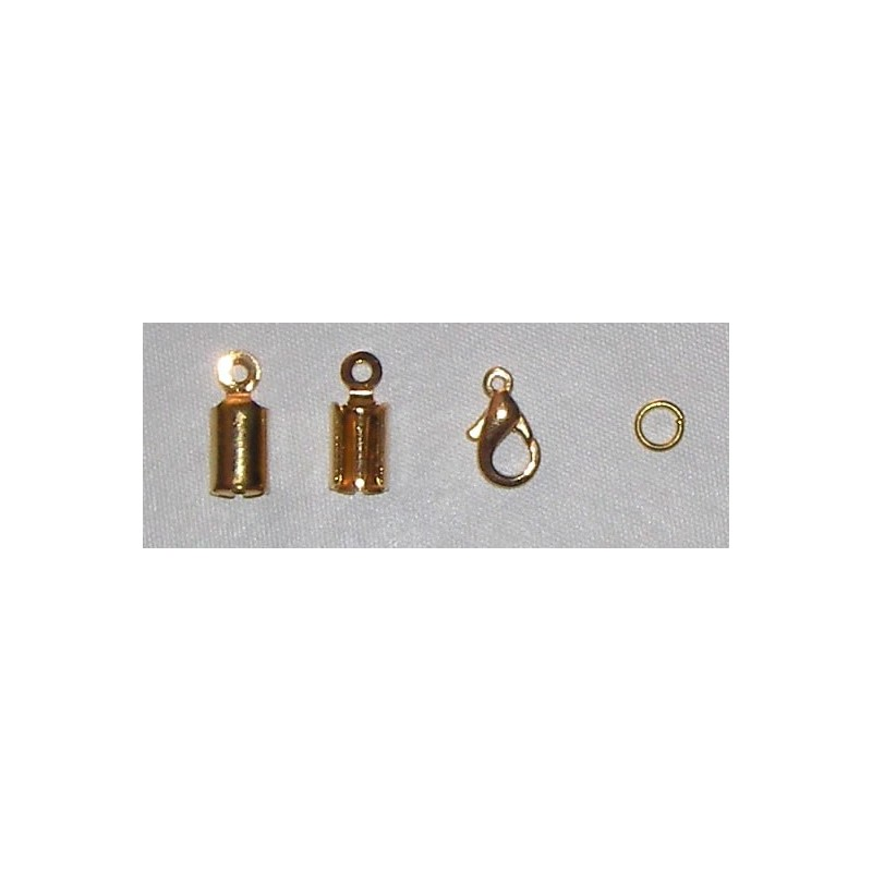 Terminal cordon dorado (2 und.), mosqueton y anilla