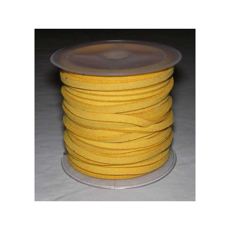 Cordon de antelina, rollo 4 metros, amarillo
