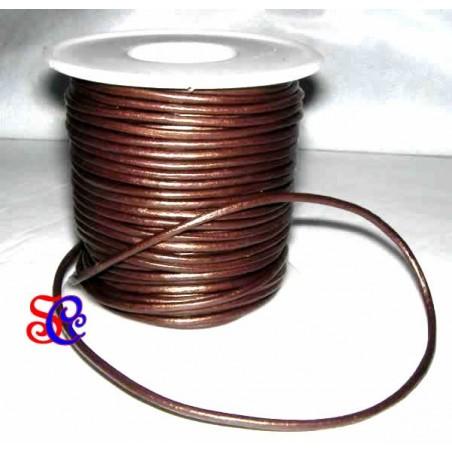 Cordon de cuero metalizado cobre, 1 metro