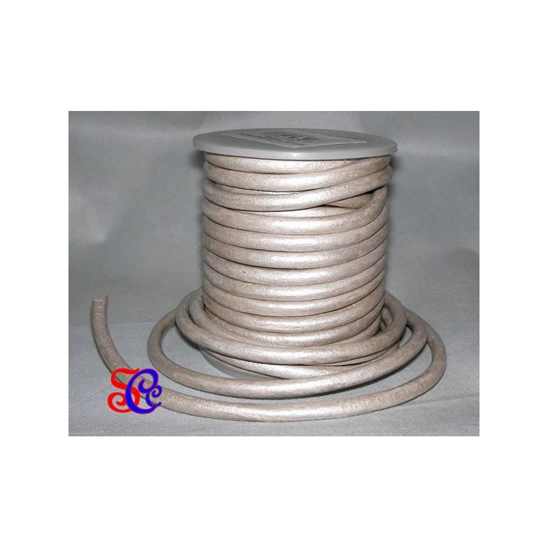 Cordon de cuero Perla metalizado 5 mm, 1 metro
