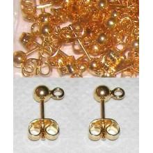 Par de pendientes bola con anilla oro