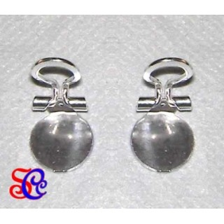 Par de pendientes pinza con base, color plata