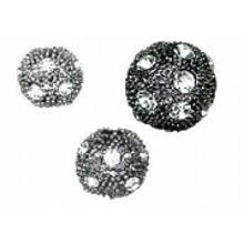 Bola con cristal strass, plata negra -cristal