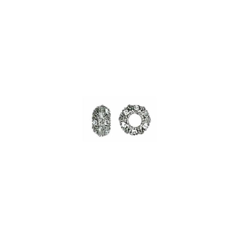 Bola chata plata con cristal strass