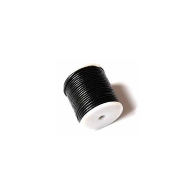 Rollo de cordon de cuero, 25 mts. 2 mm negro