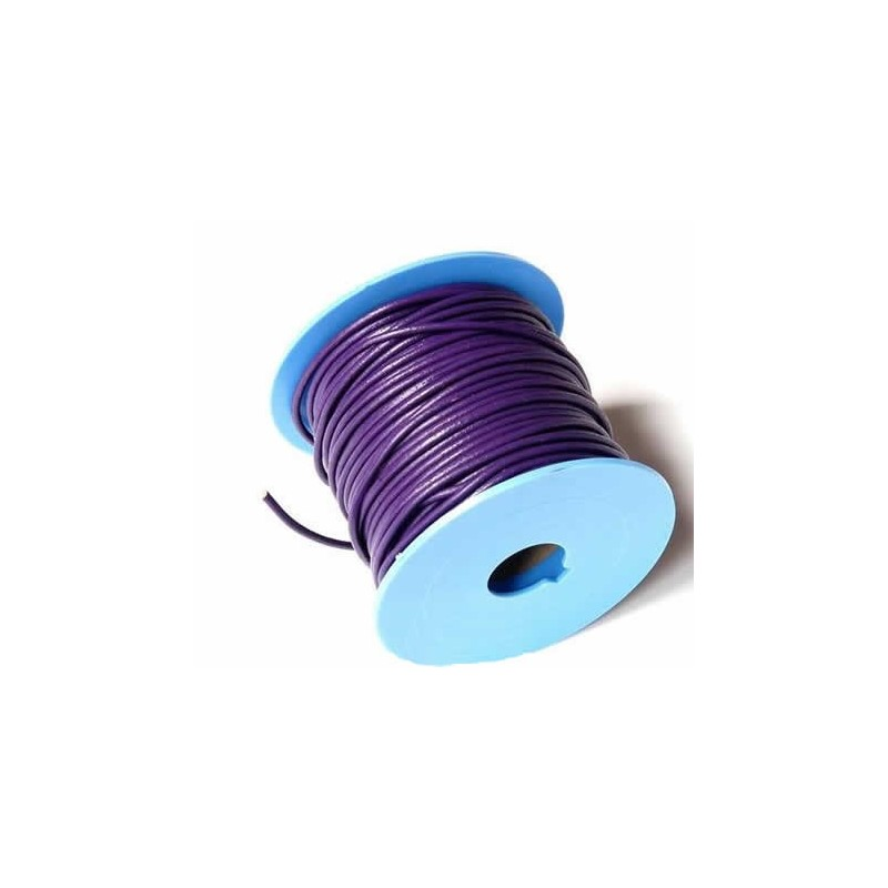 Rollo de cordon de cuero, 20 mts. 2  mm morado