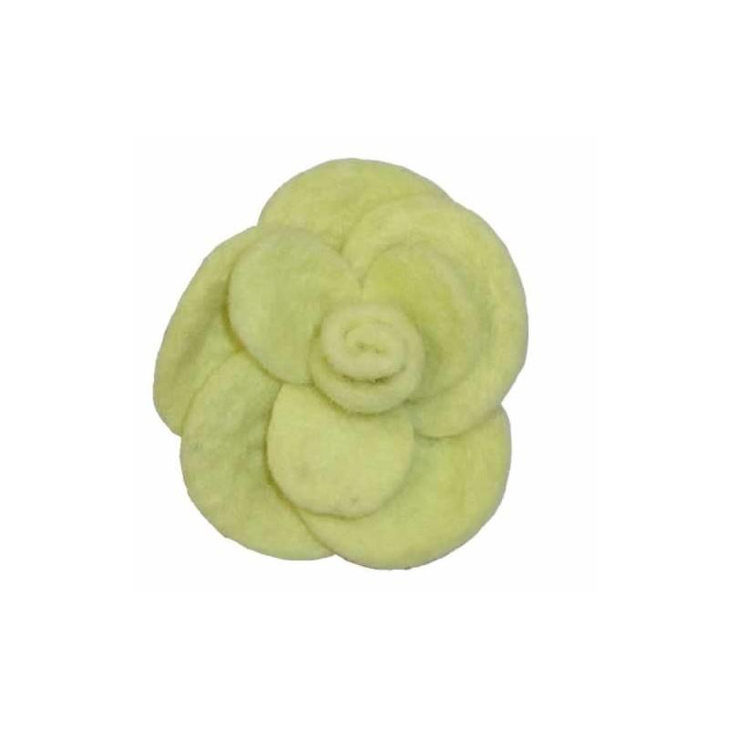 Rosa de fieltro grande 7 cm amarilla