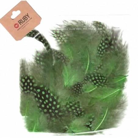 Bolsa de plumas puntos negros Verde