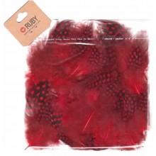 Bolsa de plumas puntos negros Rojo