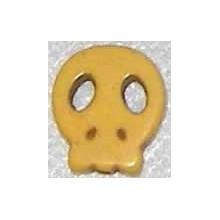 Calavera howlita de caolin plana pequeña amarilla