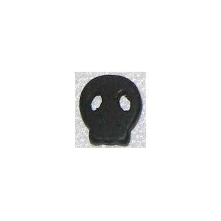 Calavera howlita de caolin plana pequeña negra