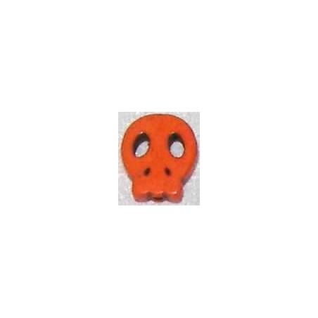 Calavera howlita de caolin plana pequeña naranja