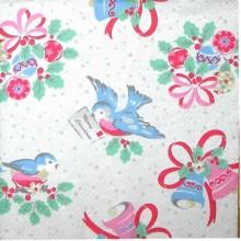 Servilleta decorada pájaros y campanas navidad