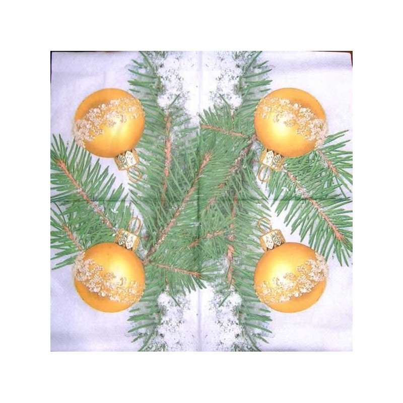 Servilleta decorada bola de navidad con ramas de pino