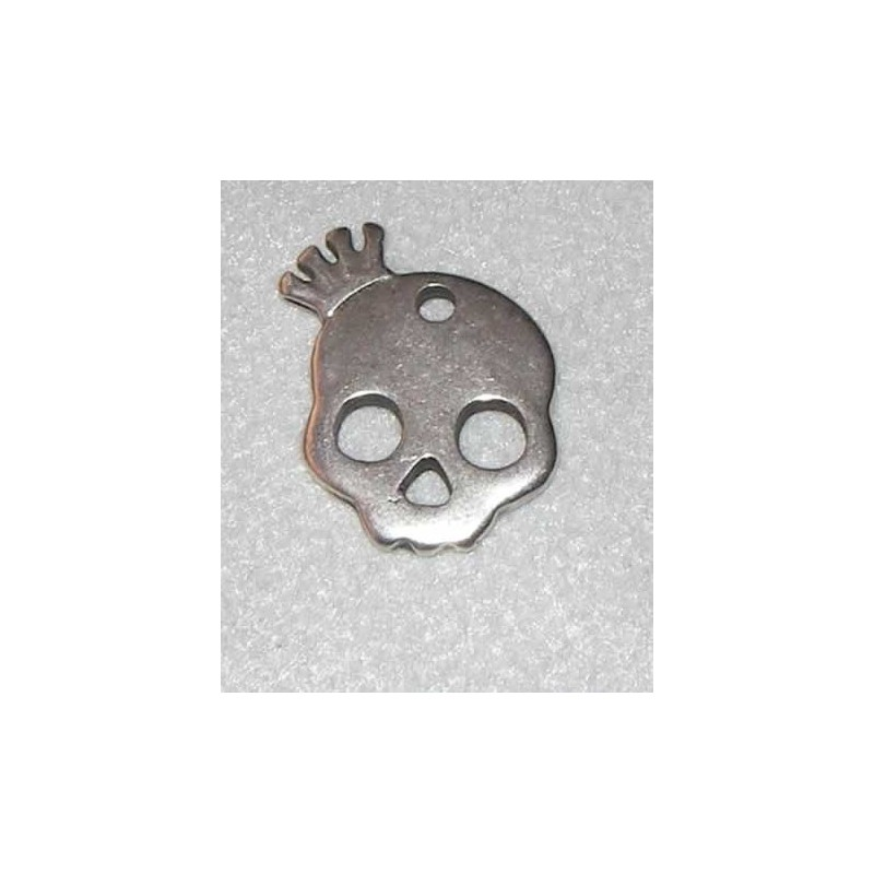 Charm Calavera howlita metal con corona 17 x 20 mm, plata antigua