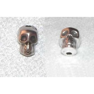 Bola Calavera howlita de metal color plata antigua 8 x 10 mm, agujero 1 mm