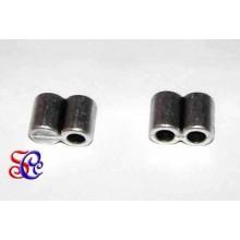 Terminal doble tubo para cuero, cordón 3 mm