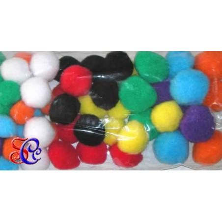 Surtido 25 pompones de fieltro 2,5 cm varios colores