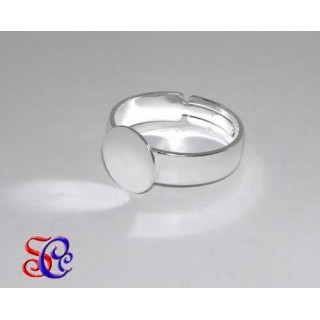 Anillo color plata con base redonda de 10 mm ancho 5 mm