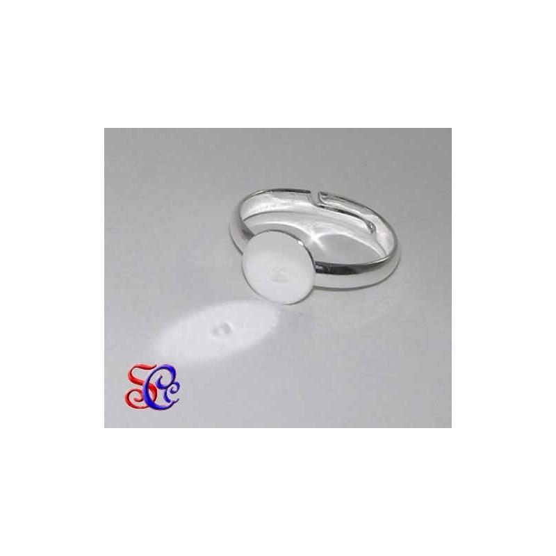 Anillo color plata con base redonda de 10 mm ancho 3 mm