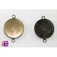 Base para camafeo 3 cm diametro doble anilla