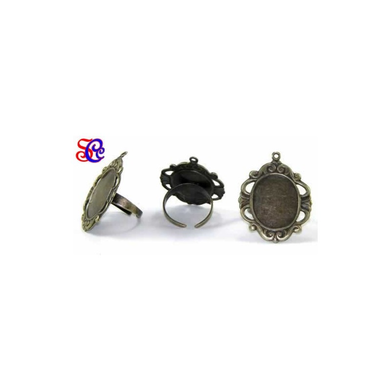 Anillo para camafeo 3,5 x 3 cm, color bronce, con anilla