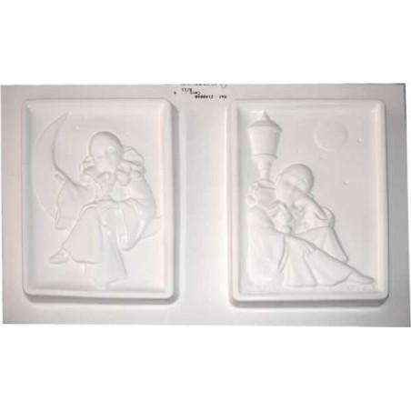 """Molde plástico para escayola """"Paladines"""", dos de 14 x 10 cm"""