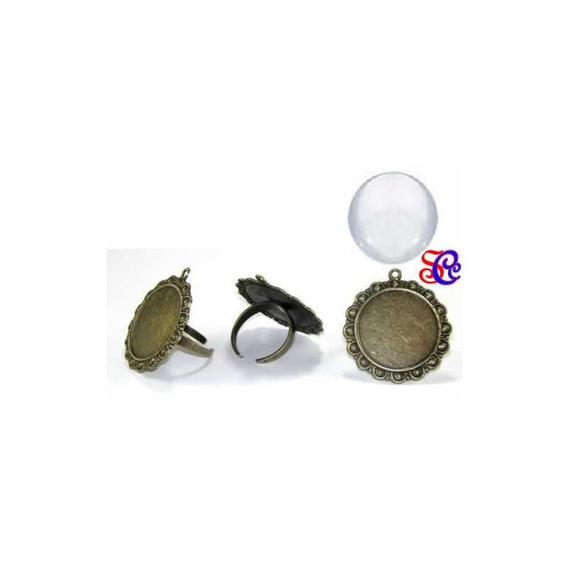 Anillo para camafeo 3,5  cm, color bronce, con anilla mas cúpula