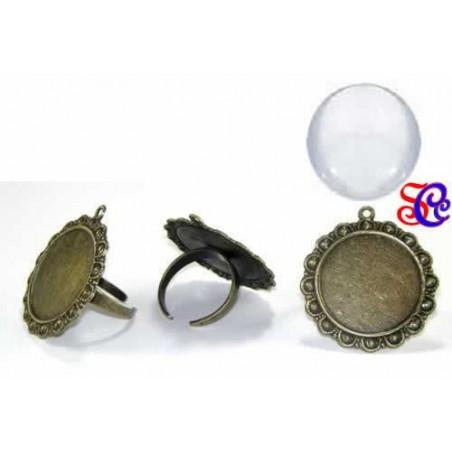 Camafeo anillo 3,5 cm, color bronce con cabuchon