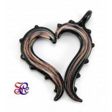 Colgante cristal corazón cobre-negro